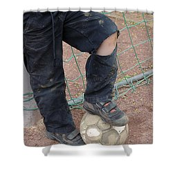 Street Soccer - Torn Trousers And Ball Shower Curtain by Matthias Hauser