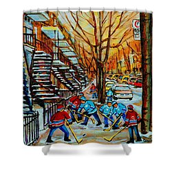 Streets Of Verdun Hockey Art Montreal City Scenes With Winding Staircases And Row Houses Shower Curtain by Carole Spandau