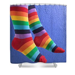 Striped Socks Shower Curtain by Garry Gay