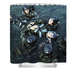 Students Secure A Simulated Casualty Shower Curtain by Stocktrek Images