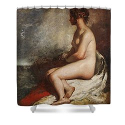 Study Of A Seated Nude Shower Curtain by William Etty