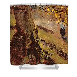 Study Of Tree Trunks Shower Curtain by John Constable