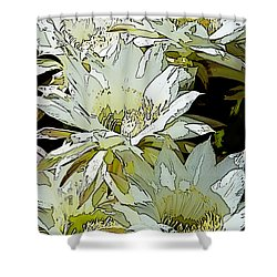 Stylized Cactus Flowers Shower Curtain by Phyllis Denton