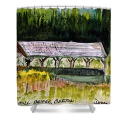 Sugar Mill Covered Bridge In Barton Vt Shower Curtain by Donna Walsh