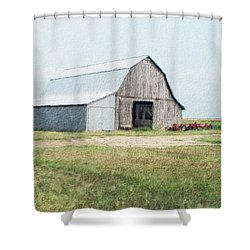 Shower Curtain featuring the digital art Summer Barn by Debbie Portwood