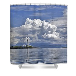 Summer Clouds Over Lismore Lighthouse Shower Curtain by Gary Eason