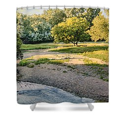 Summer Evening Along The Creek Shower Curtain by Bruce Morrison