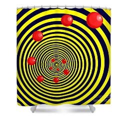 Summer Red Balls With Yellow Spiral Shower Curtain