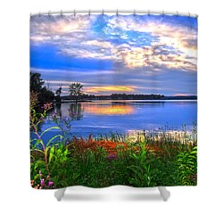 Shower Curtain featuring the photograph Summertime Walk Around Lake  by Randall Branham