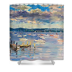 Sun And Clouds In Hudson Shower Curtain
