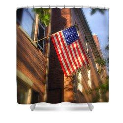 Sun Kissed Flag Shower Curtain by Joann Vitali