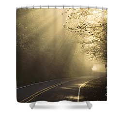 Sun Rays On Road Shower Curtain by Ron Sanford and Photo Researchers