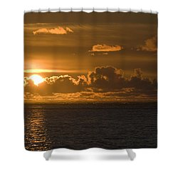 Sun Setting On The Ocean With The Shower Curtain by Michael Interisano