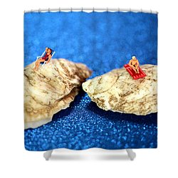Sunbathers On Shells Shower Curtain by Paul Ge