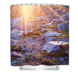 Shower Curtain featuring the photograph Sunburst Over Abyss Lake by Jim Garrison