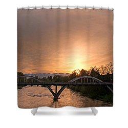 Sunburst Sunset Over Caveman Bridge Shower Curtain by Mick Anderson