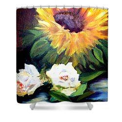 Sunflower And White Roses Shower Curtain