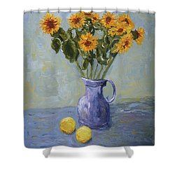 Sunflowers And Lemons Shower Curtain