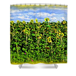 Sunflowers In France Shower Curtain by Joan  Minchak