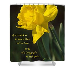 Sunny Daffodil With Quote Shower Curtain