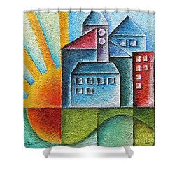Sunny Town Shower Curtain by Jutta Maria Pusl