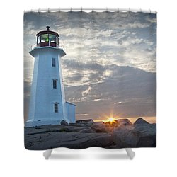 Sunrise At Peggys Cove Lighthouse In Nova Scotia Number 041 Shower Curtain