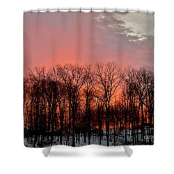 Shower Curtain featuring the photograph Sunrise Behind The Trees by Mark Dodd