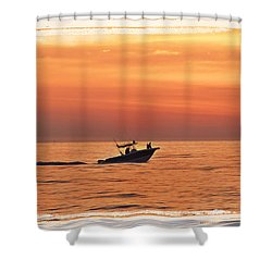 Shower Curtain featuring the photograph Sunrise Boat Ride by Janie Johnson