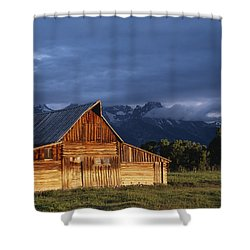 Sunrise On Old Wooden Barn On Farm Shower Curtain by Axiom Photographic