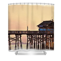 Shower Curtain featuring the photograph Sunrise On Rickety Pier by Janie Johnson