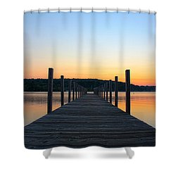 Sunrise On The Docks Shower Curtain by Michael Mooney