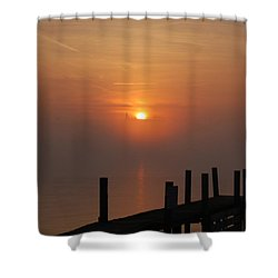 Sunrise On The River Shower Curtain by Randy J Heath