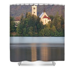 Sunrise Over Lake Bled And The Island Church Shower Curtain