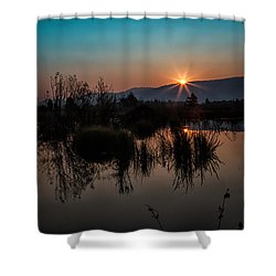 Sunrise Over The Beaver Pond Shower Curtain