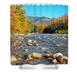 Sunrise Over The Saco Vertical Shower Curtain by Geoffrey Bolte