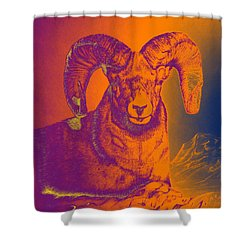 Sunrise Ram Shower Curtain by Mayhem Mediums