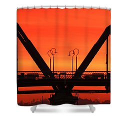 Sunrise Walnut Street Bridge Shower Curtain by Tom and Pat Cory