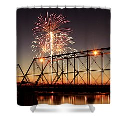 Sunset And Fireworks Shower Curtain
