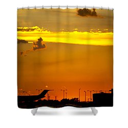 Sunset At Kci Shower Curtain by Lisa Plymell