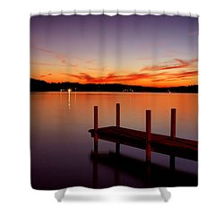 Sunset At The Dock Shower Curtain by Michelle Joseph-Long