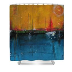 Shower Curtain featuring the painting Sunset At The Lake  # 1 by Nicole Nadeau