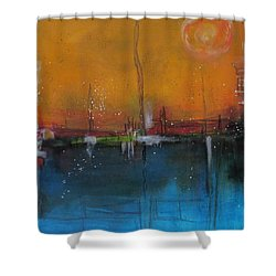Shower Curtain featuring the painting Sunset At The Lake # 2 by Nicole Nadeau