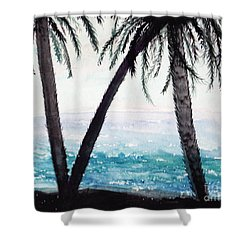 Sunset Beach Palms Shower Curtain