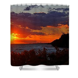 Sunset By The Beach Shower Curtain by Davandra Cribbie