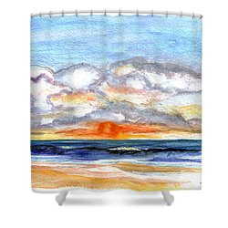 Shower Curtain featuring the painting Sunset Clouds by Clara Sue Beym