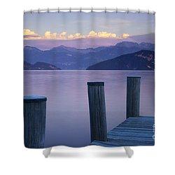 Sunset Dock Shower Curtain by Brian Jannsen