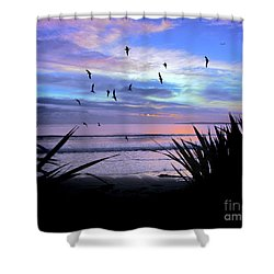 Sunset Down Under Shower Curtain by Karen Lewis