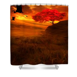 Sunset Duet Shower Curtain by Lourry Legarde