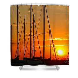 Sunset In A Harbour Digital Photo Painting Shower Curtain
