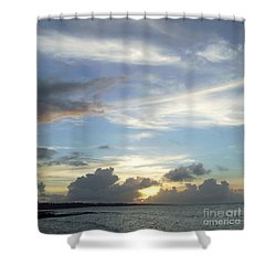Shower Curtain featuring the photograph Sunset In Majuro by Andrea Anderegg